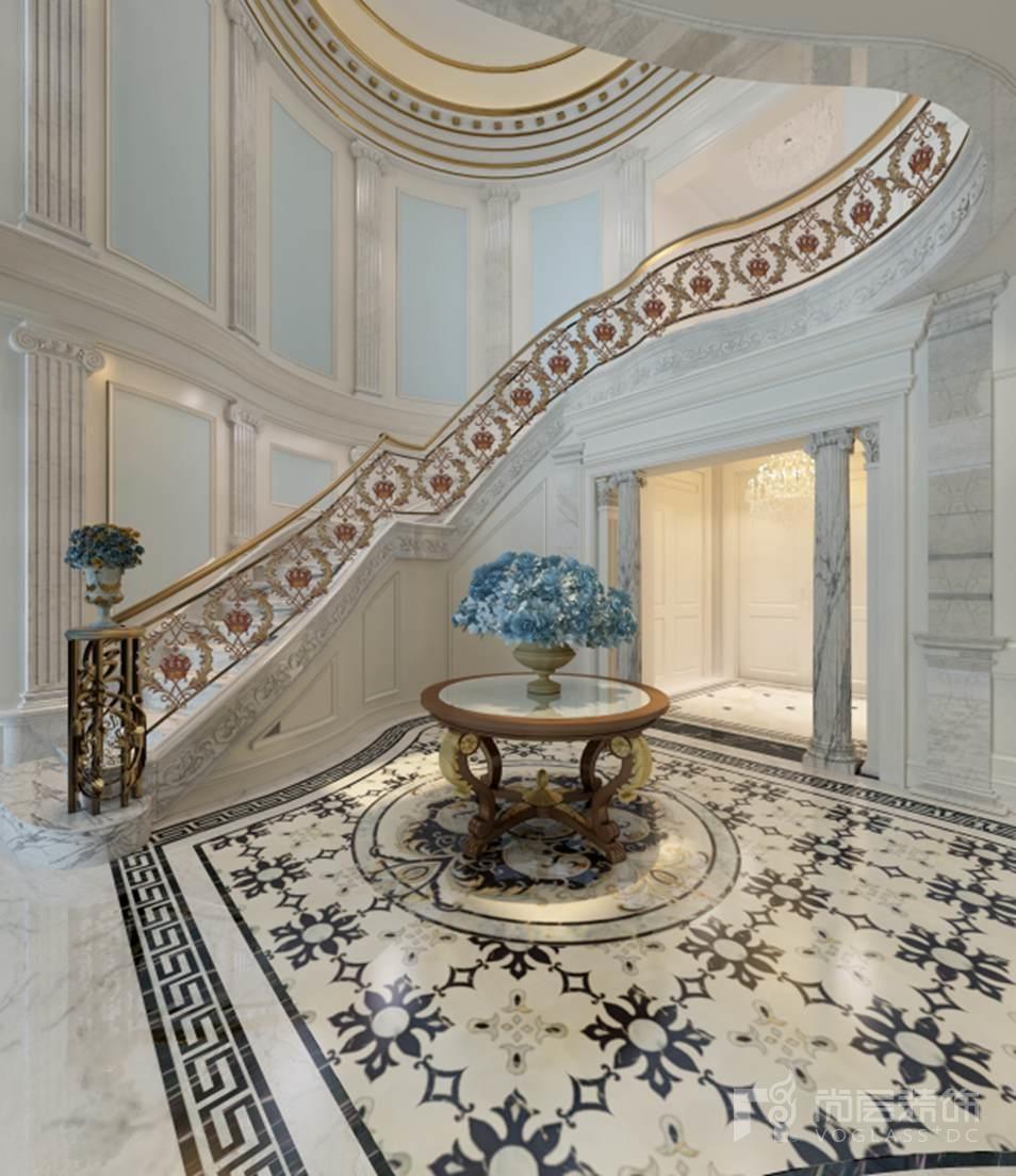 碧水庄园法式新古典楼梯厅别墅装修效果图图片