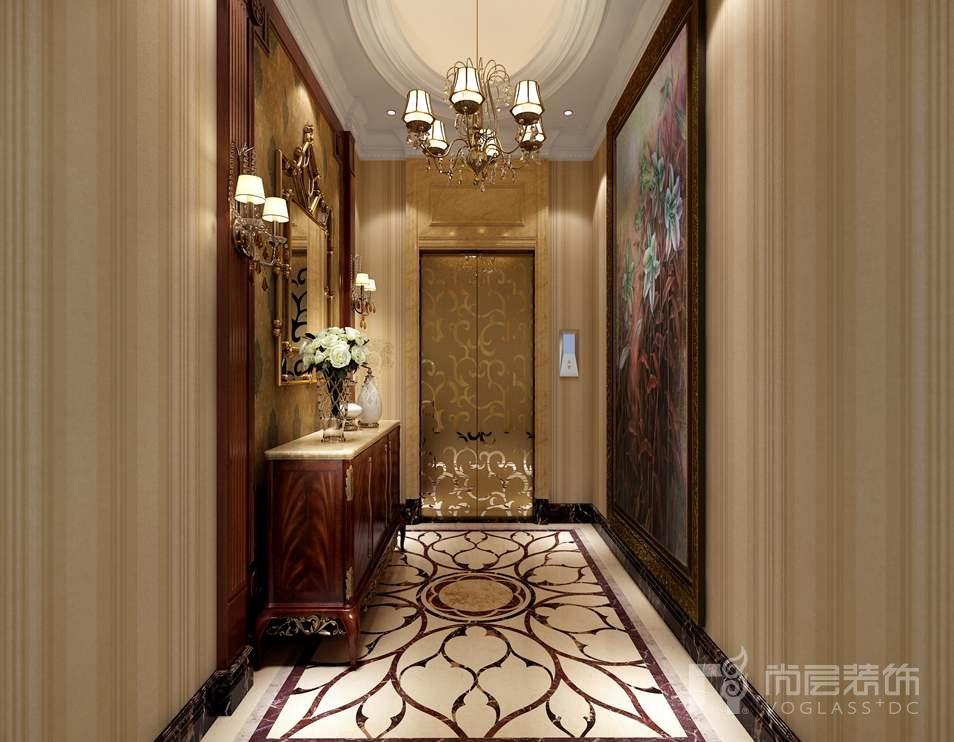 千章墅美式新古典电梯厅别墅装修效果图