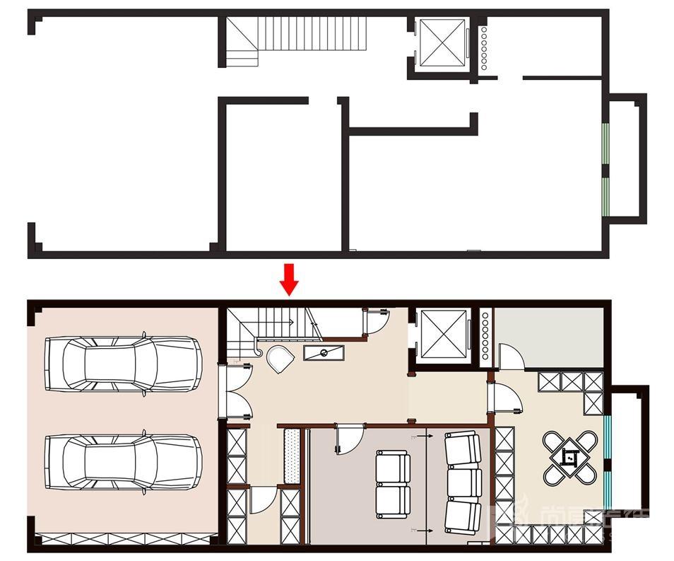 尚层装饰远洋天著别墅装修地下二层空间规划