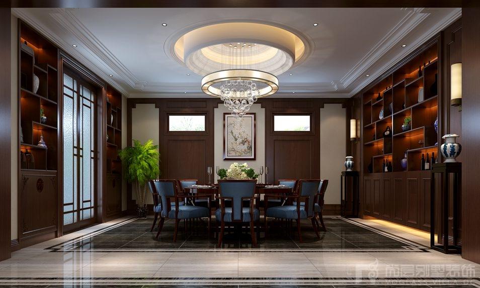 自建四合院新中式餐厅别墅装修效果图