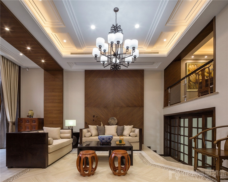 昆山紫怡花园现代中式风格300平米别墅装修设计案例