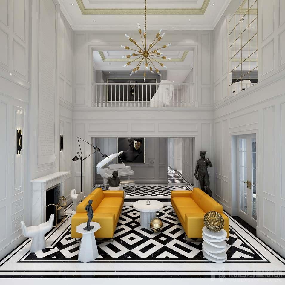 凯德麓语新古典客厅别墅装修效果图
