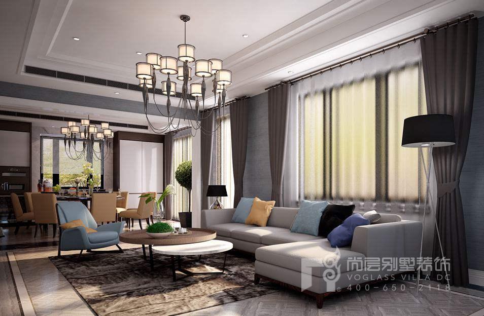 优山美地现代简约起居室别墅装修效果图