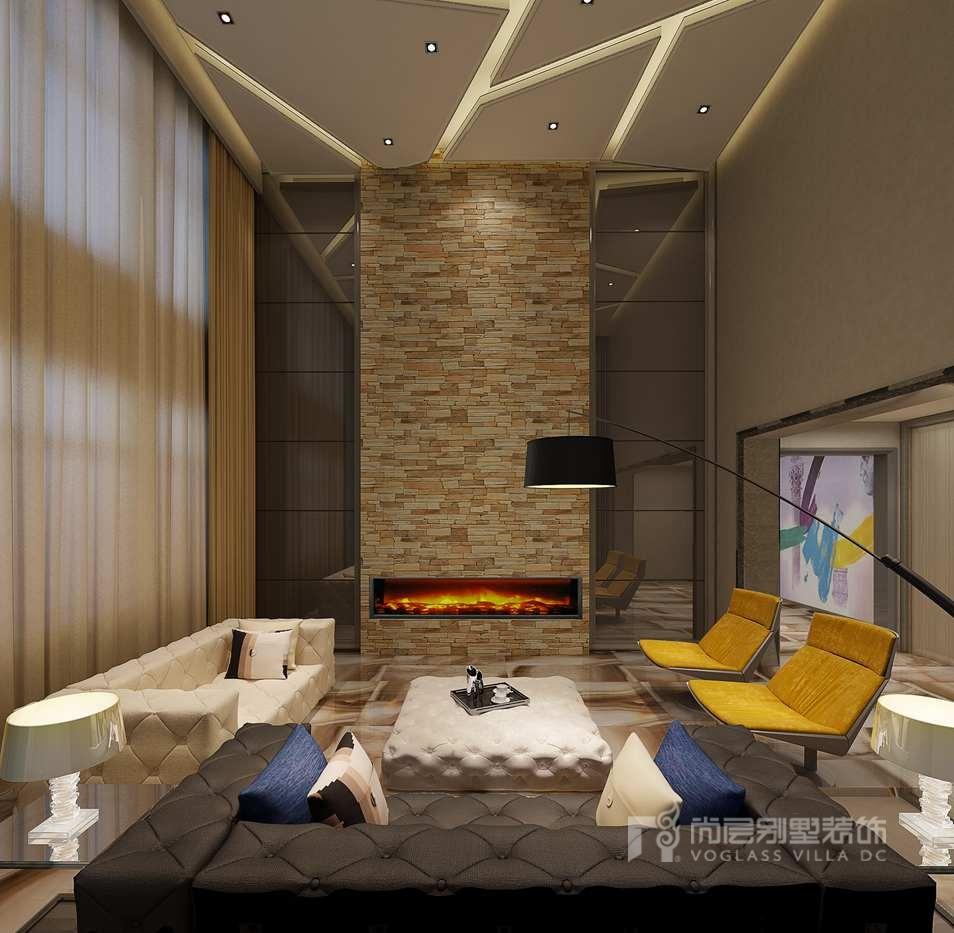 中海尚湖世家现代客厅别墅装修效果图