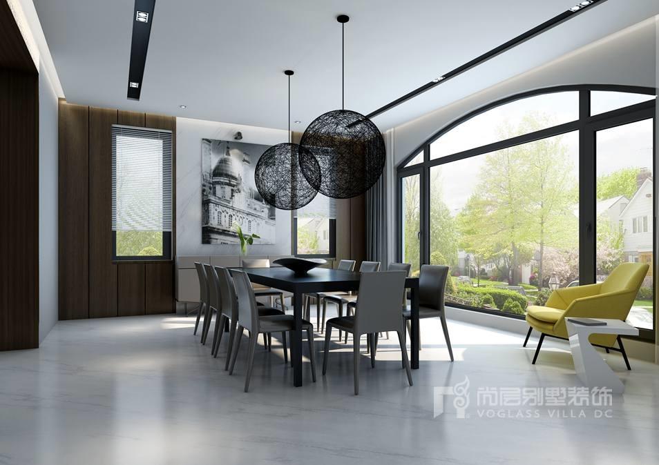 富力丹麦现代简约餐厅别墅装修效果图