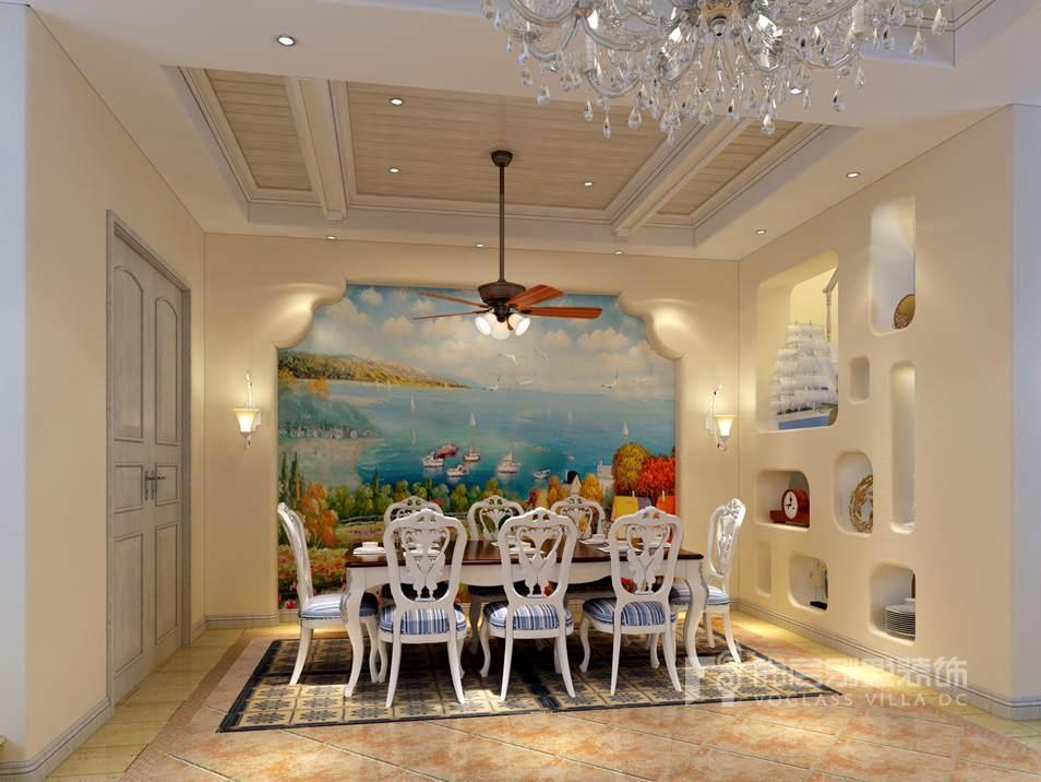 南湖一号地中海餐厅别墅装修效果图