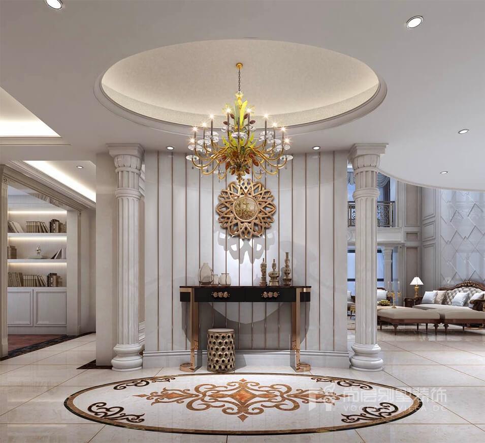 玄关为本案别墅装修欧式风格的亮点,两边对称的立柱与圆弧造型的设