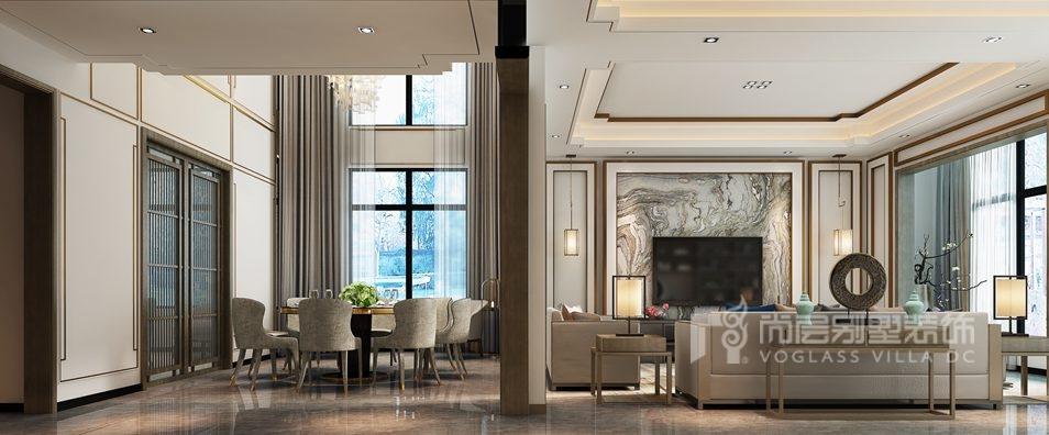 紫禁壹号院别墅新中式客厅装修效果图