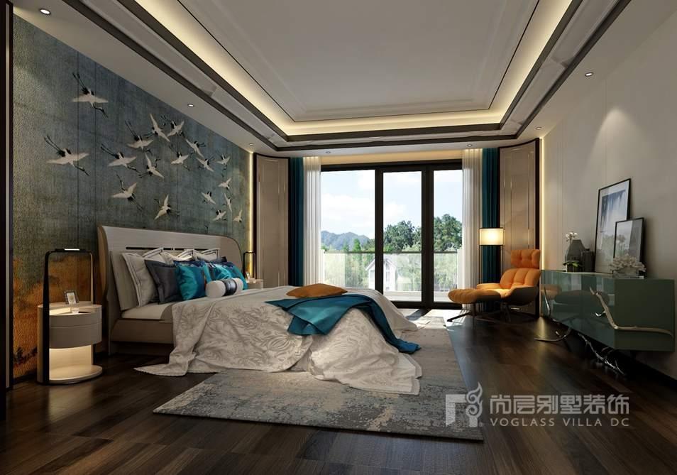棕榈滩别墅新中式风格主卧装修效果图