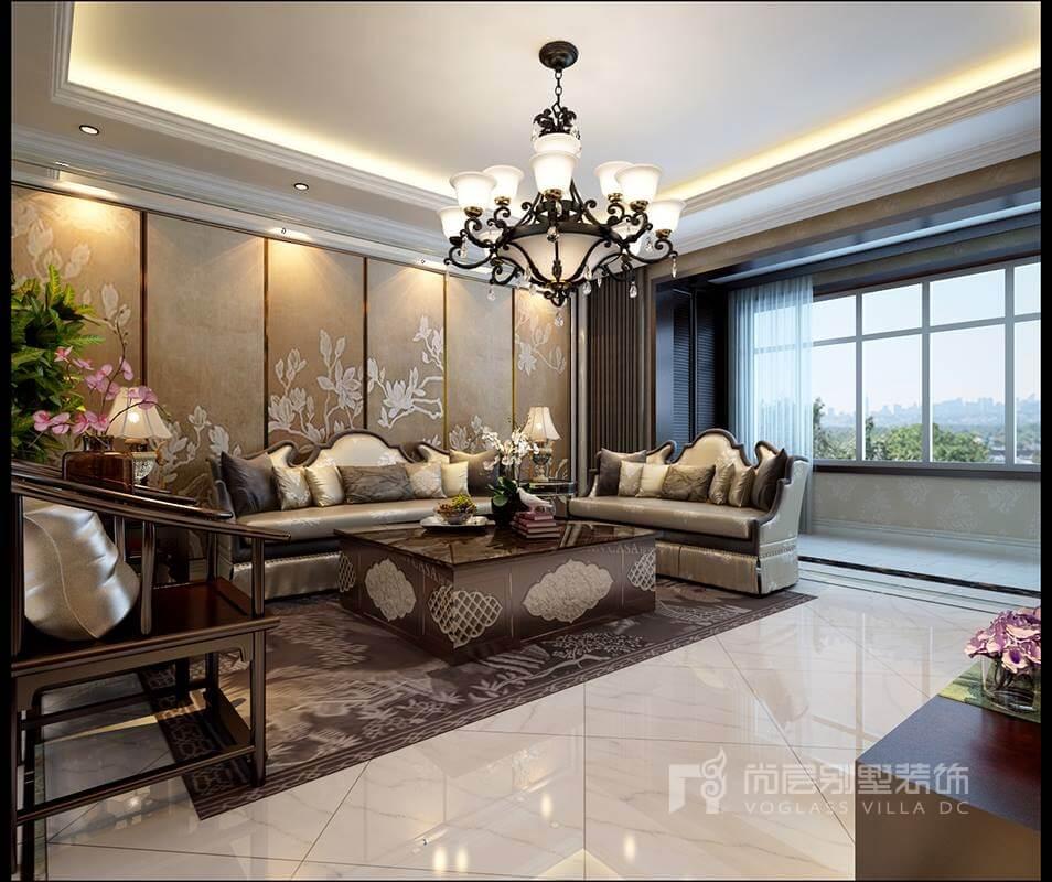 新中式别墅装修设计客厅的装饰使用中式图案软包沙发背景与皮质沙发图片