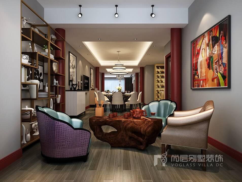 南京别墅案例 500平米后现代别墅装修风格效果图  起居室空间也没有需