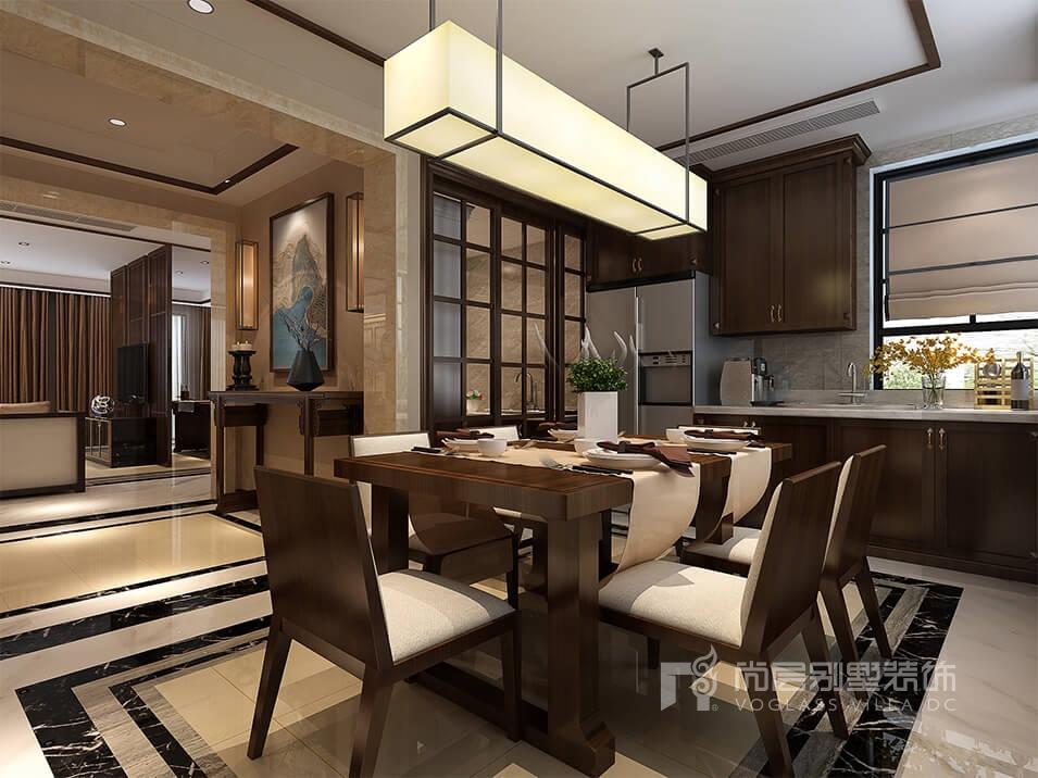 在这个快节奏和时尚潮流的时代,有些人却愿意放慢脚步,经营着属于自己梦想的一方乐土,本案业主平时有写毛笔字的爱好,所以设计师将此新中式别墅装修设计客厅分为个功能区域,使用屏障隔开,休息区和发挥主人爱好区域,休息区以休闲舒适为主,简单的木色系凸显简洁平和,素色的沙发椅营造质朴的空间氛围,而挥发毛笔字区域就多了份浓墨色彩,为生活塑造出一个宁静、安逸、雅韵的风格。