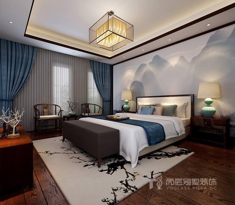 鴻坤原鄉郡新中式風格臥室裝修效果圖    對于書房的窗簾來說,因