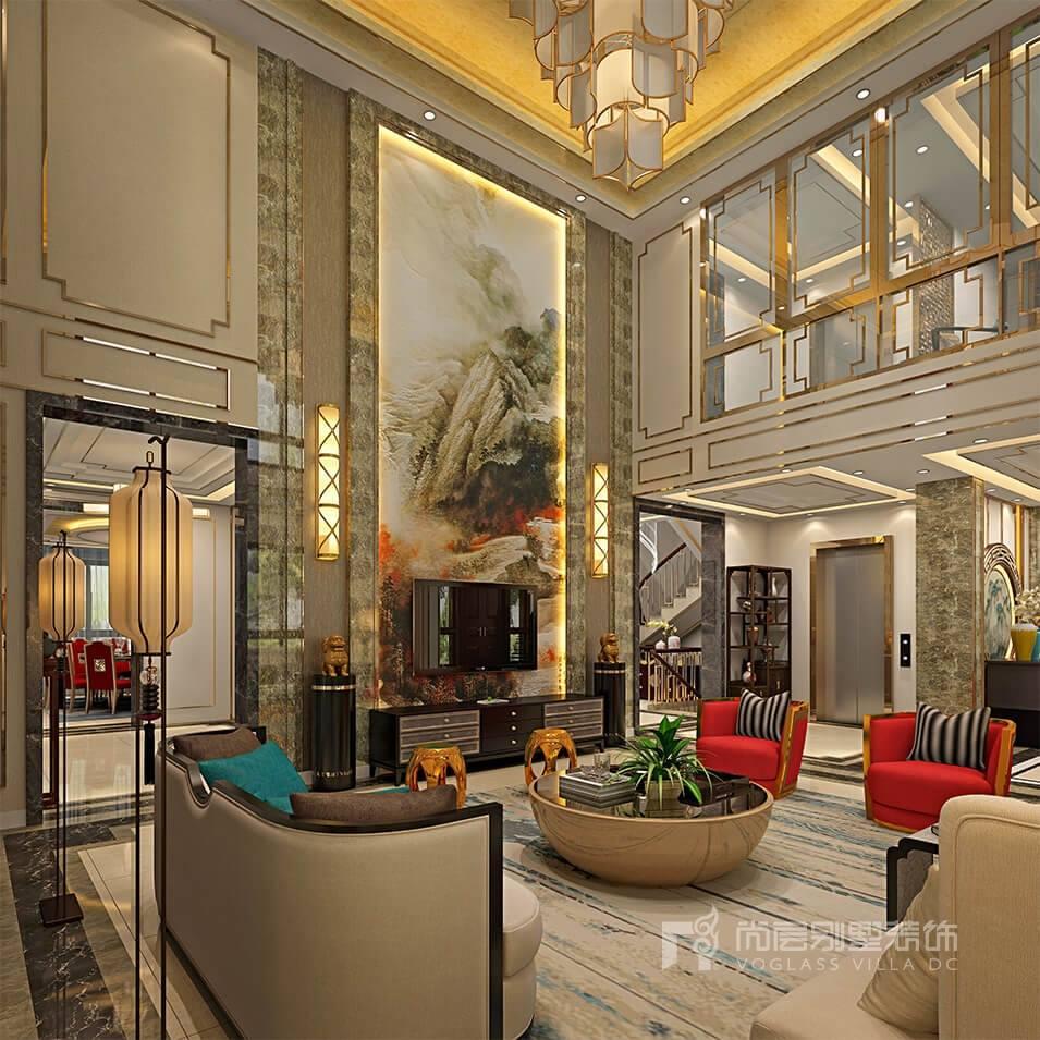 豪华别墅客厅装修效果图,尚层装饰作品