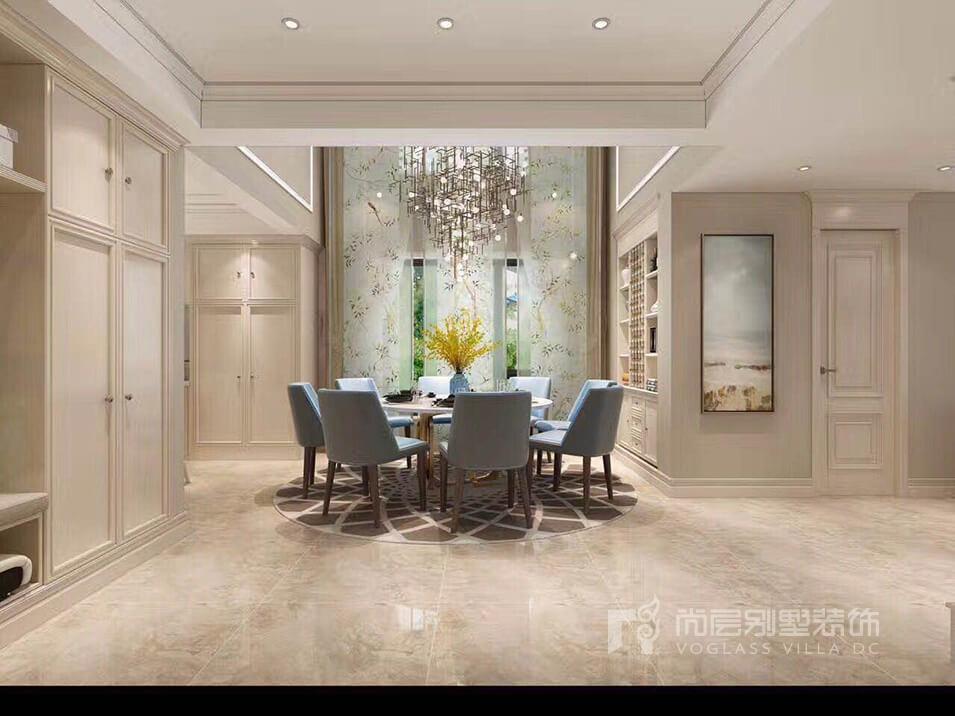 220平米叠墅装修效果图_简欧风格设计     客厅利用灰色地砖与护墙板