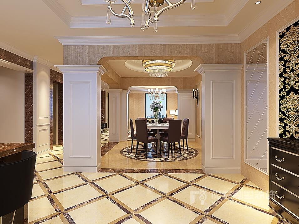 南京景枫加州城别墅新古典风格餐厅装修效果图