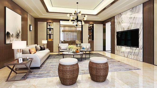 花博园920平方米新中式风格别墅装修案例——清雅含蓄