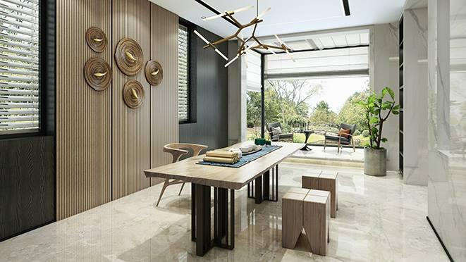 东海府580平方米新中式风格装修设计案例——端庄丰华