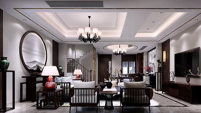 荣安山语湖苑300平方米新中式风格装修案例——精美绝伦