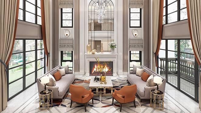 九龙湖1000平方米美式轻奢风格别墅装修案例——自在随意