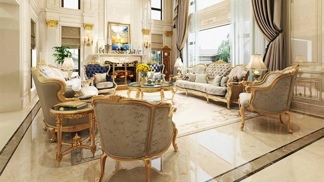 紫玉台1500平法式风格独栋别墅装修案例——大气对称