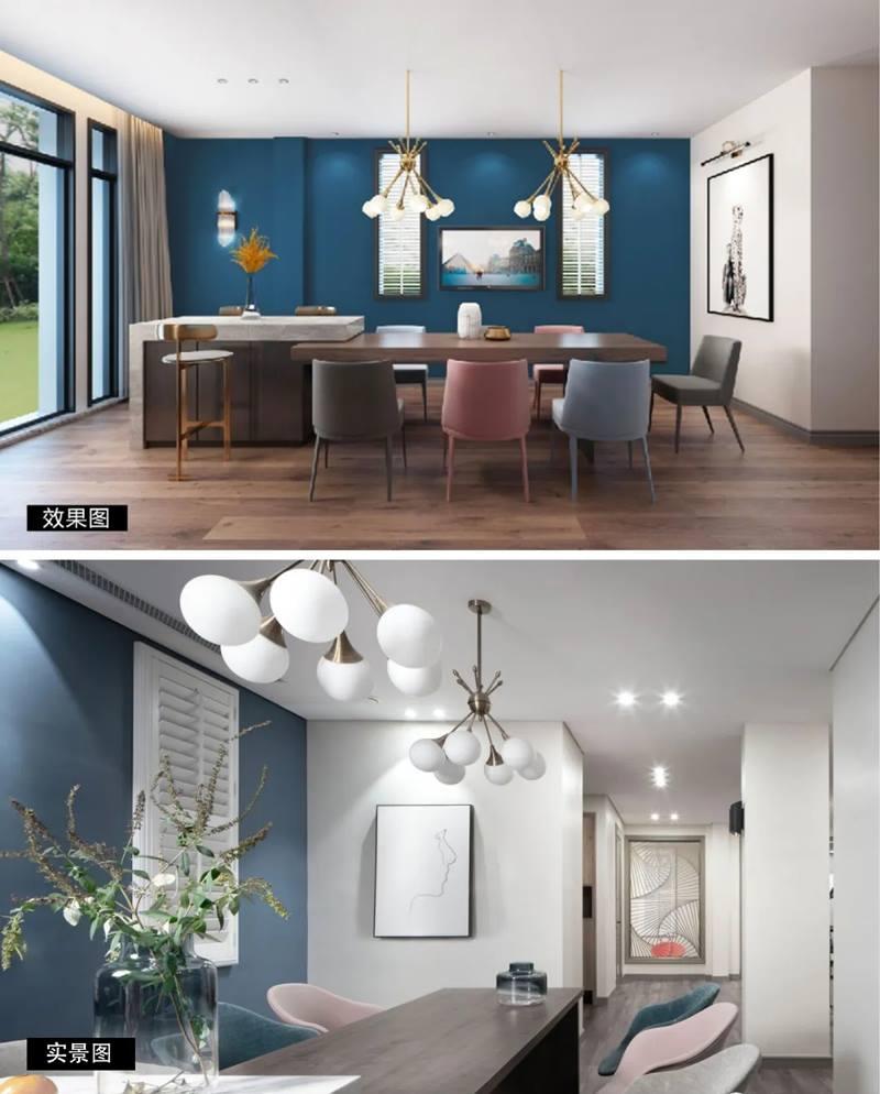 尚层装饰别墅全案设计装修效果图实景图对比