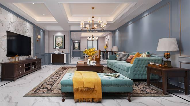 银亿上郡300平方米联排别墅现代法式风格装修案例