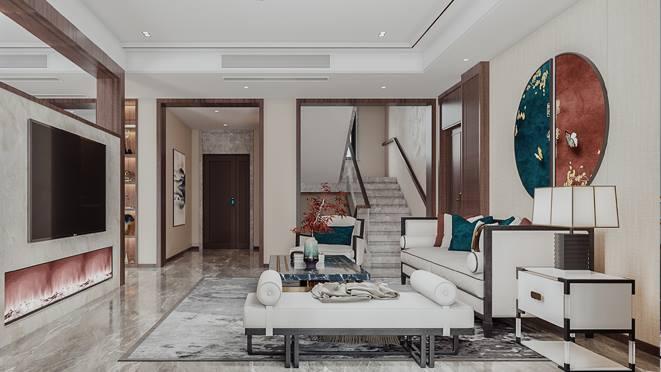 翡翠苑375平方米新中式风格装修案例