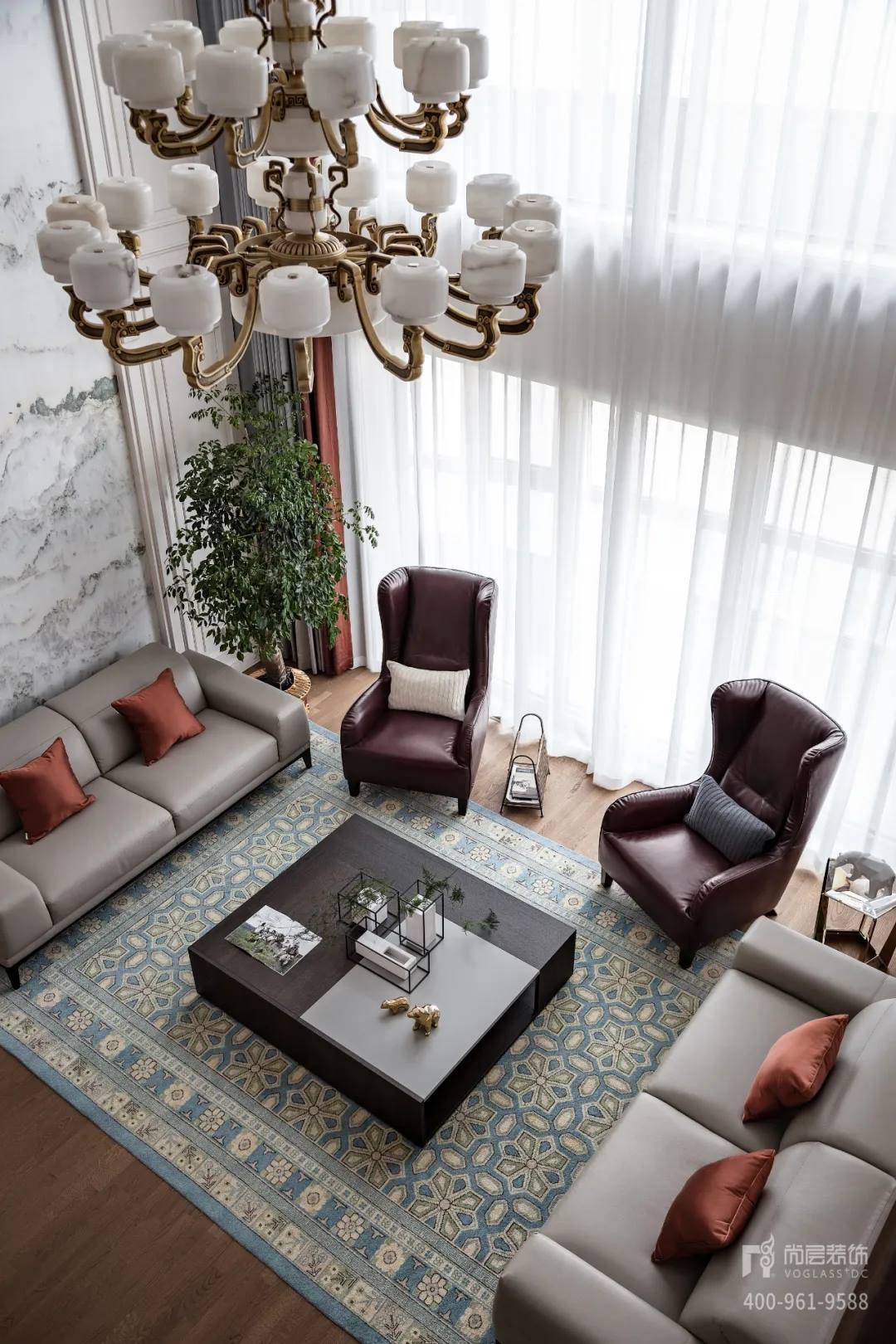 尚层装饰实景装修案例客厅顶面装修设计