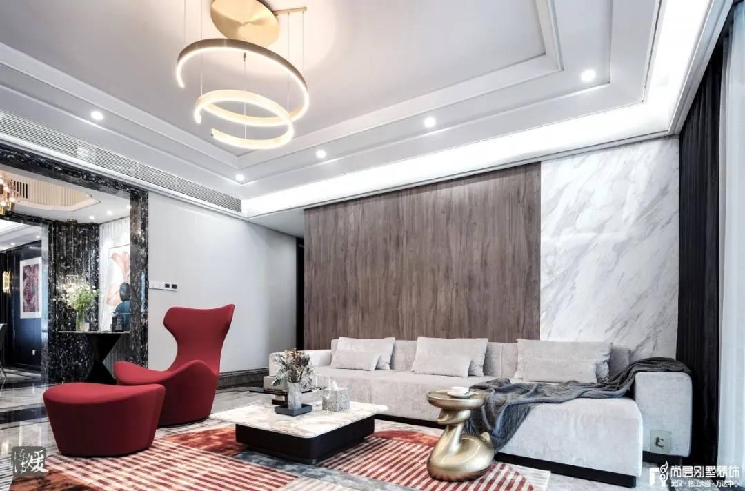 尚层别墅装修实景案例客厅装饰