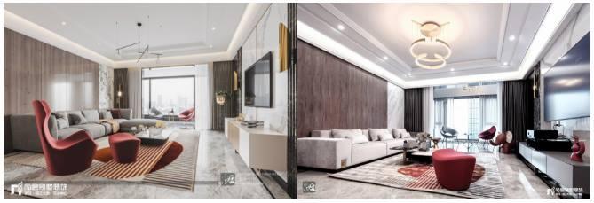 尚层别墅装修客厅实景案例vs方案