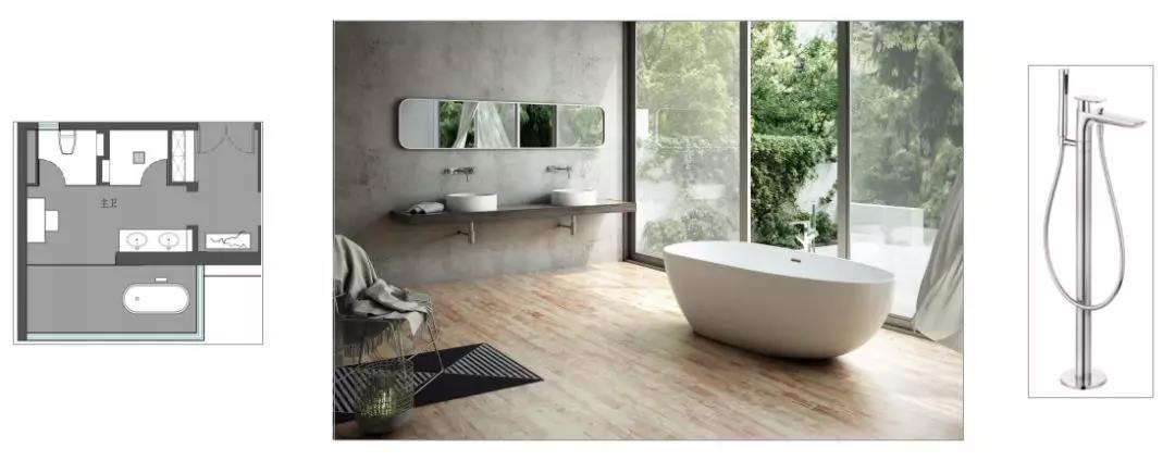 尚层装饰全案设计卫生间浴缸设计方案