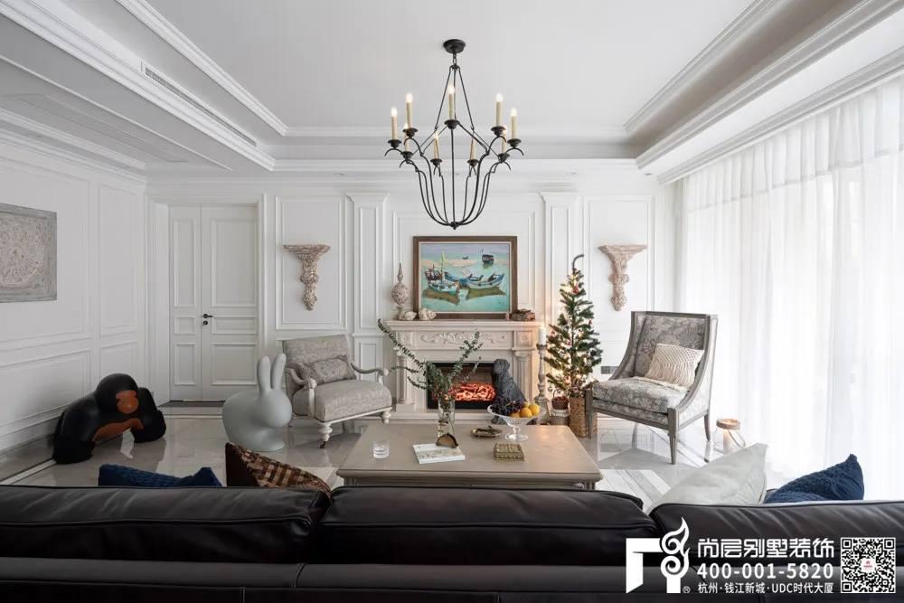 尚层装饰400平美式风格别墅装修设计客厅实景
