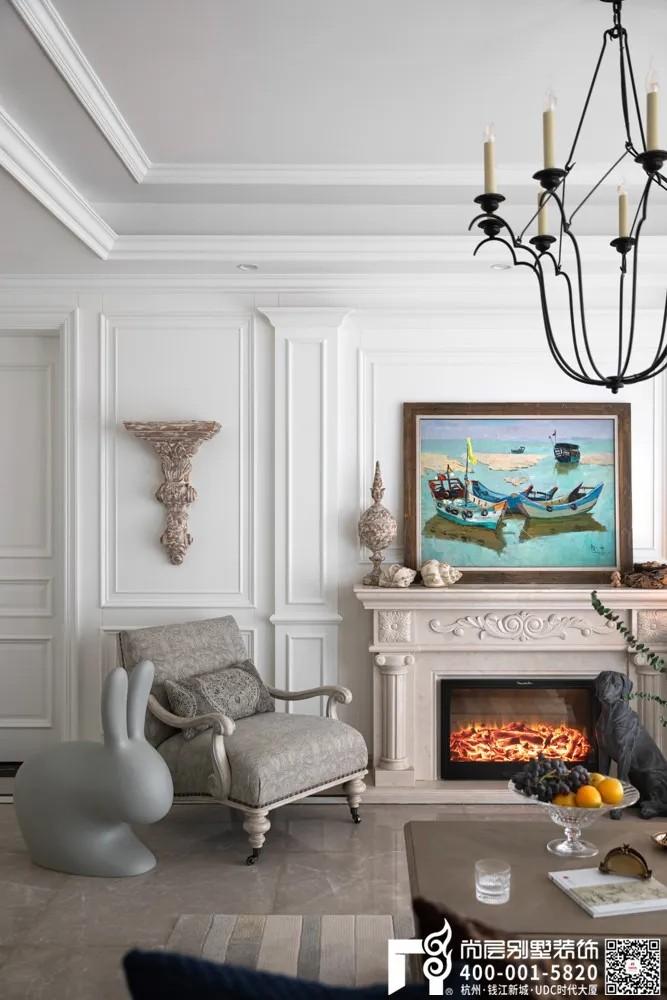 尚层装饰400平别墅美式装修风格壁炉