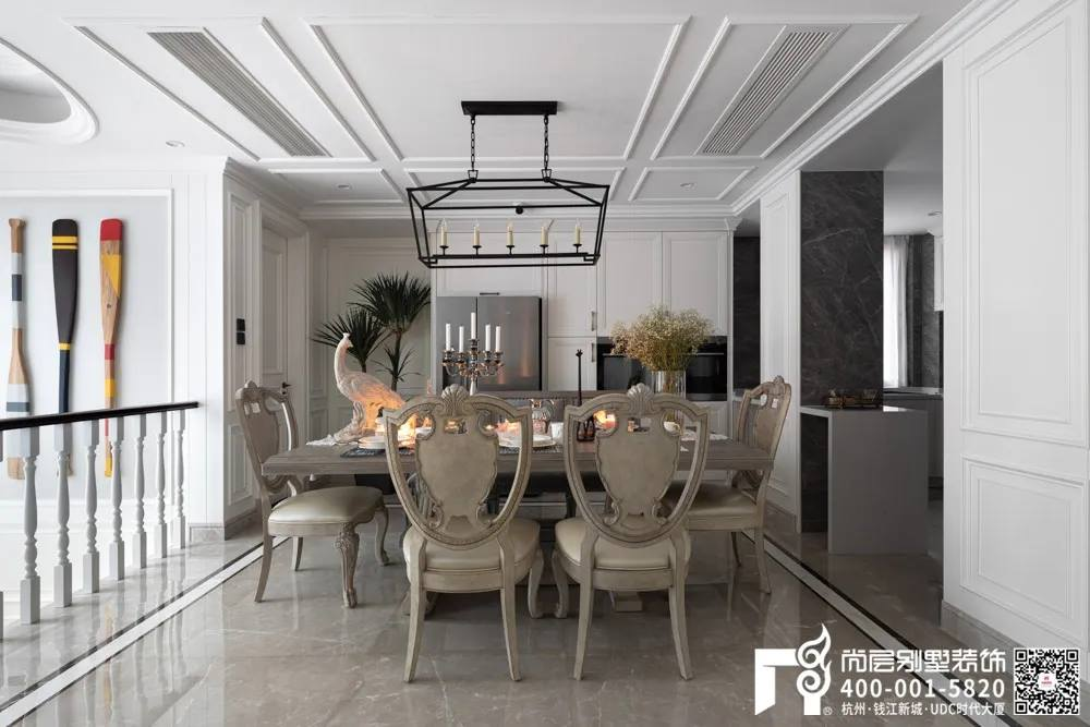 尚层装饰400平别墅美式装修风格餐厅设计实景