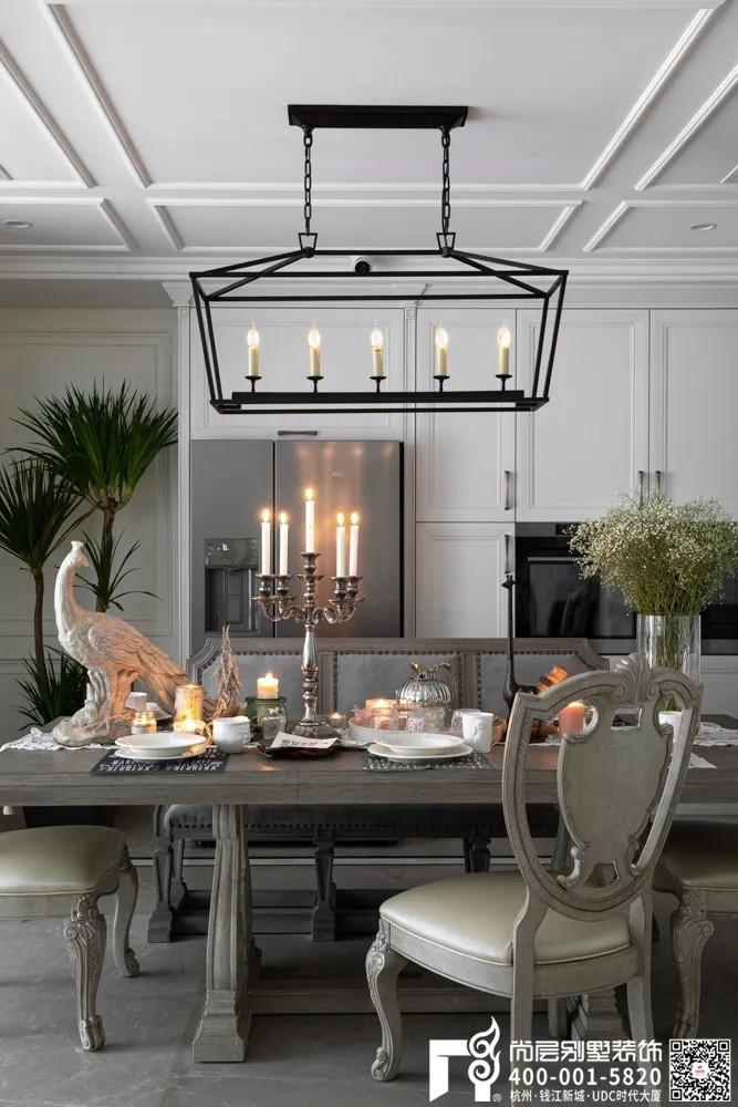 尚层装饰400平美式风格别墅餐厅装修设计实景