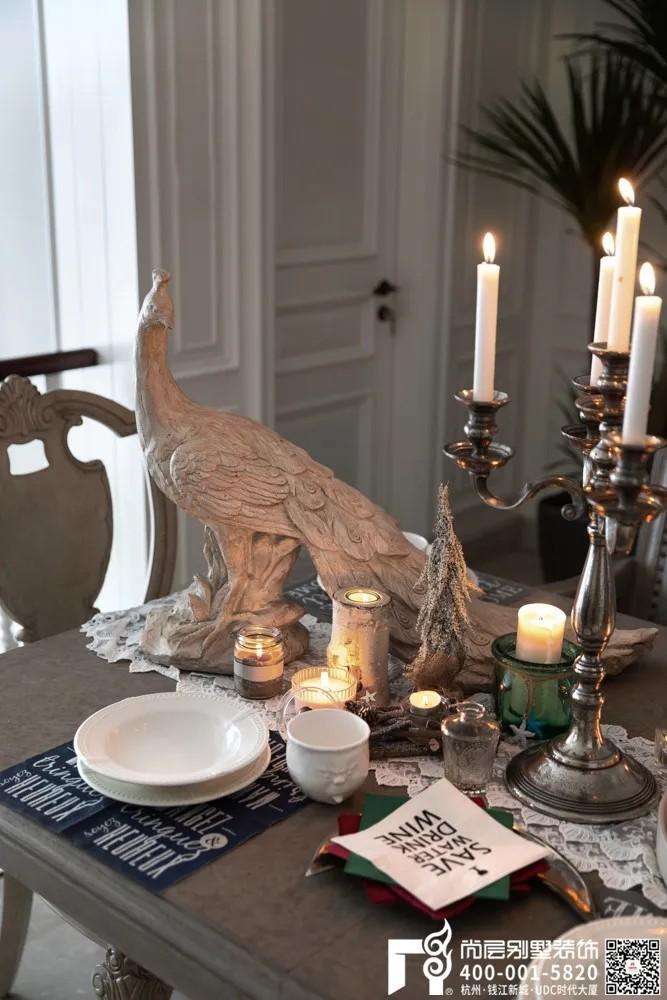尚层装饰400平别墅美式风格餐厅软装设计