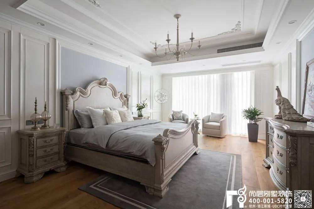 尚层装饰400平别墅美式风格卧室装修设计实景