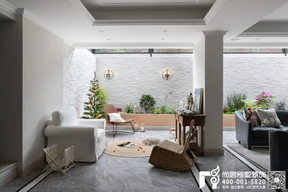 尚层装饰400平别墅美式装修风格休闲区设计
