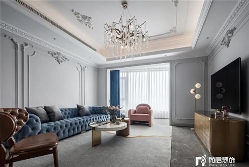 尚层220平现代法式风格别墅客厅设计