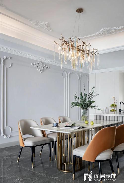 尚层220平现代法式风格别墅餐厅装修设计