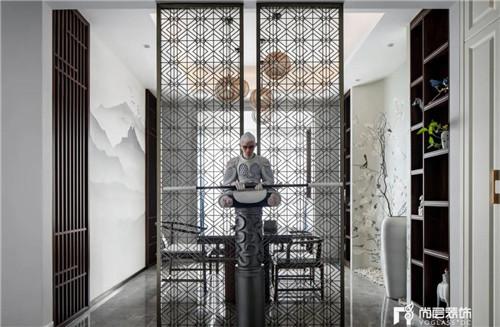 尚层220平现代法式风格别墅茶室屏风设计