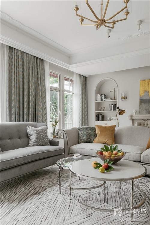 380㎡現代美式風格別墅客廳裝修