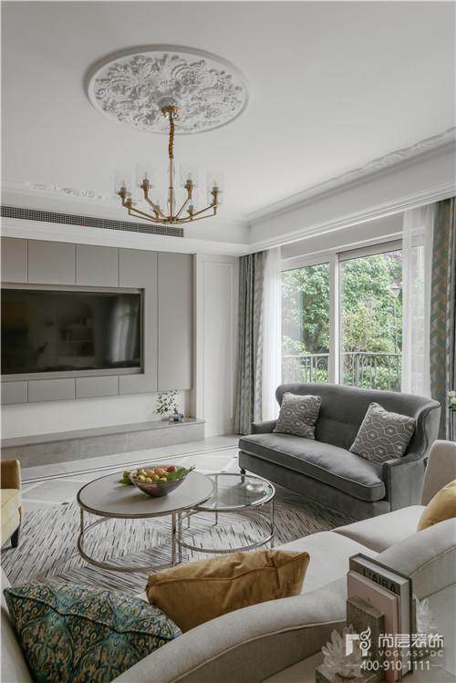 380㎡現代美式風格別墅客廳裝修設計